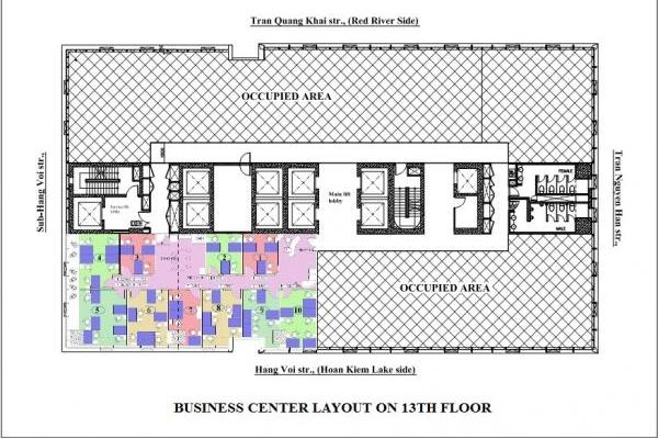 Business Center Layout on 13th Floor